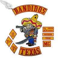 Hot Sale! 10pcs/Set BANDIDOS TEXAS MC Patch Embroidered Iron On Full Back Size Jacket Vest Motorcycle Biker 1% Patch