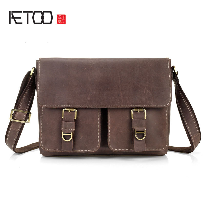 AETOO The new first layer of leather men shoulder bag leather men bag leisure Messenger bag cross section crazy horse skin Japan men s leather oblique cross chest packs of the first layer of leather deer pattern men s shoulder bag korean fashion men s bag