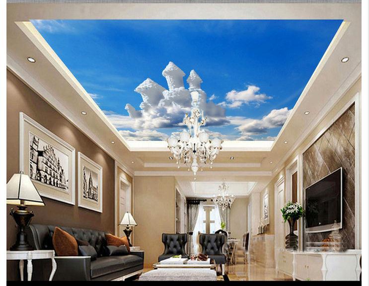 Personalizado 3d papel de parede murais de parede teto 3d for Pintura decorativa efeito 3d