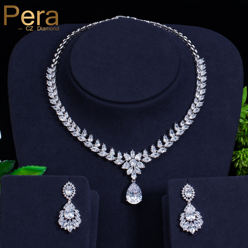 Pera High Quality AAA Cubic Zirconia Micro Pave Big Marquise Shape Water Drop Bridal Wedding Necklace And Earrings Jewelry J250Pera High Quality AAA Cubic Zirconia Micro Pave Big Marquise Shape Water Drop Bridal Wedding Necklace And Earrings Jewelry J250