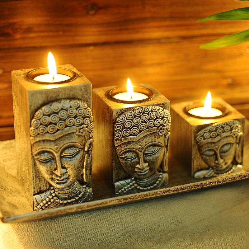 buy thailand buddha buddha zen wooden candle holder candlestick creative home. Black Bedroom Furniture Sets. Home Design Ideas