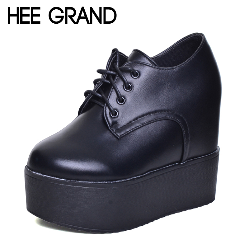 HEE GRAND Camouflage Creepers 2017 Lace up Platform Shoes Woman Wedges Loafers Slip On Flats Casual Fahsion Woman Shoes XWX5972 hee grand 2017 platform loafers slip on ballet flats pinted toe shoes woman comfortable creepers casual women flat shoes xwd4879