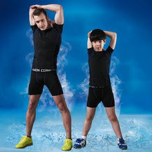 Free Shipping T-shirt children compression suit man quick dry sports shorts basketball football training leggings running suits
