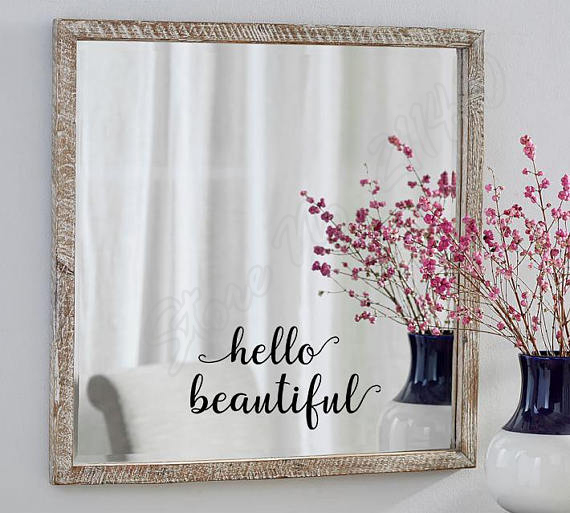 Hello Beautiful Mirror Decal Salon Wall Stickers Self Love Quote Bedroom Glass Door Decoration Wall Decals B334