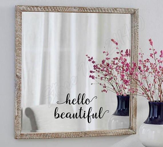 Hello Gương Đẹp Decal Salon Tường Nhãn Tự Tình Yêu Quote Phòng Ngủ Glass Door Trang Trí Tường Decals B334