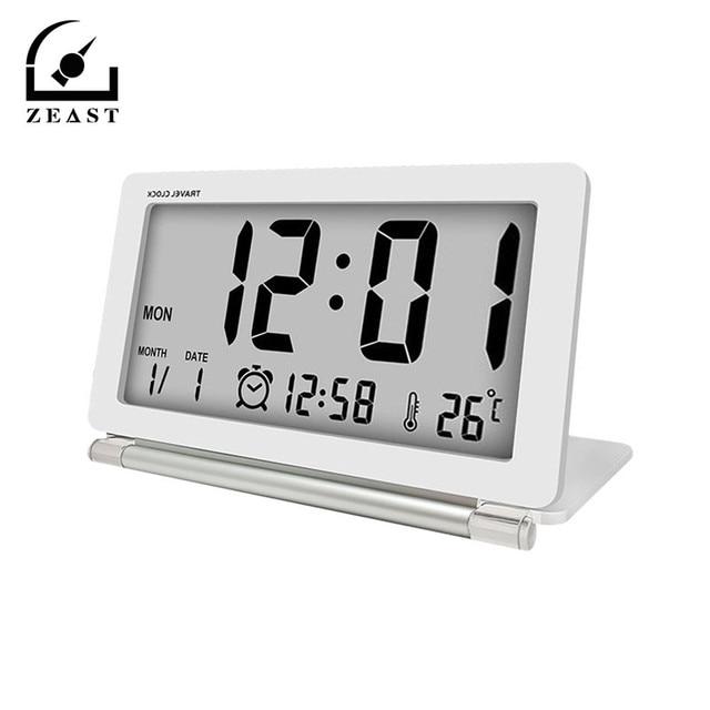 315655eb13b Alarme De Viagem Relógio eletrônico Multifuncional Silenciosa Digital LCD  Tela Grande Relógio De Mesa Dobrável Com