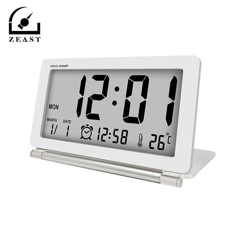 Electronic Travel Alarm Clock   Multifunction Silent LCD Digital Large Screen Folding Desk Clock With Temperature Date Calendar