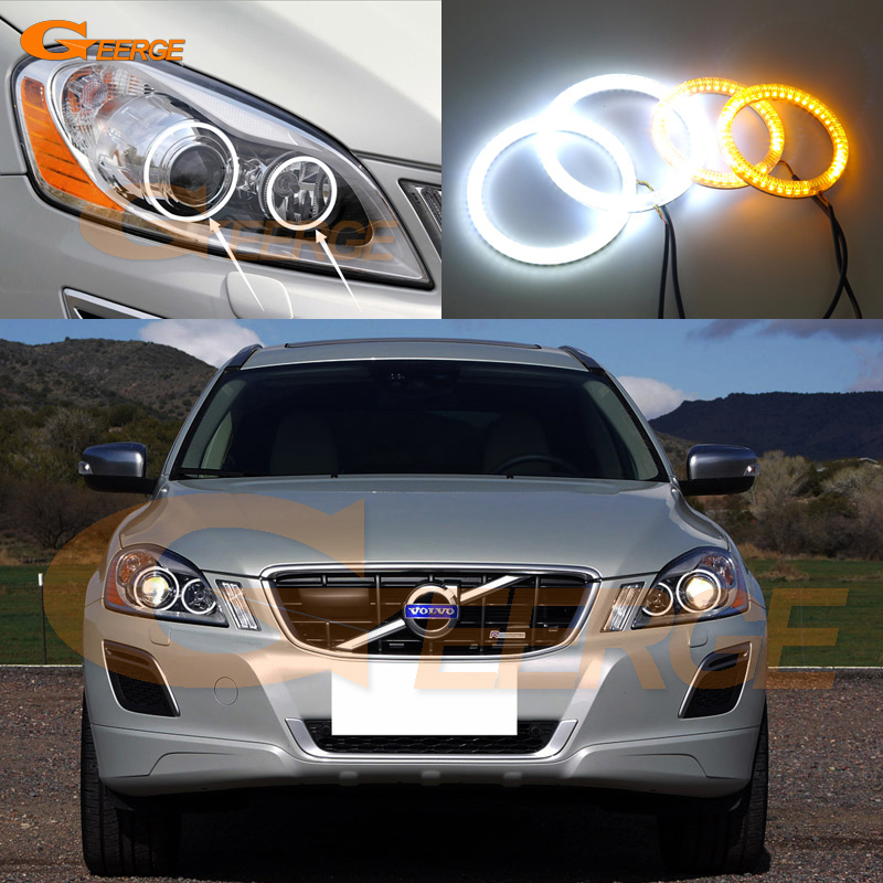 For Volvo XC60 2009 2010 2011 2012 2013 XENON HEADLIGHT Excellent Ultra bright Dual Color Switchback smd LED Angel Eyes kit for volvo xc90 2010 2011 2012 2013 xenon headlight excellent angel eyes multi color ultra bright rgb led angel eyes kit
