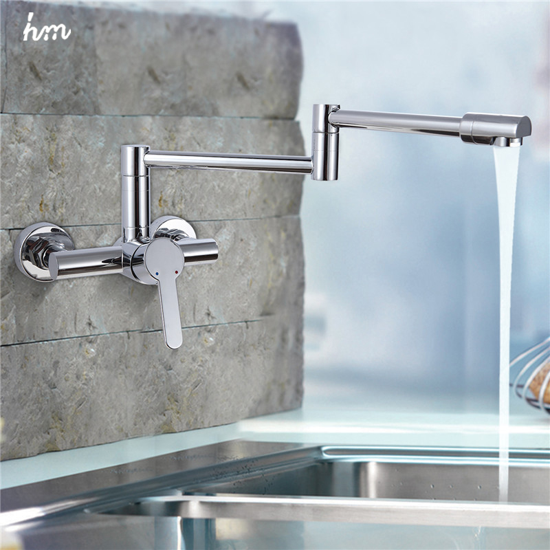 New Style Good Brass Folding Kitchen Faucet Wall Mount 360 Swivel Kitchen  Sink Faucet Kitchen Mixer