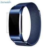 Ouhaobin Moda Milanese Paslanmaz Çelik Watch Band Kayış Bilezik Ile HD Film Fitbit Şarj Için 2 Lüks Bilek Sapanlar Sep12