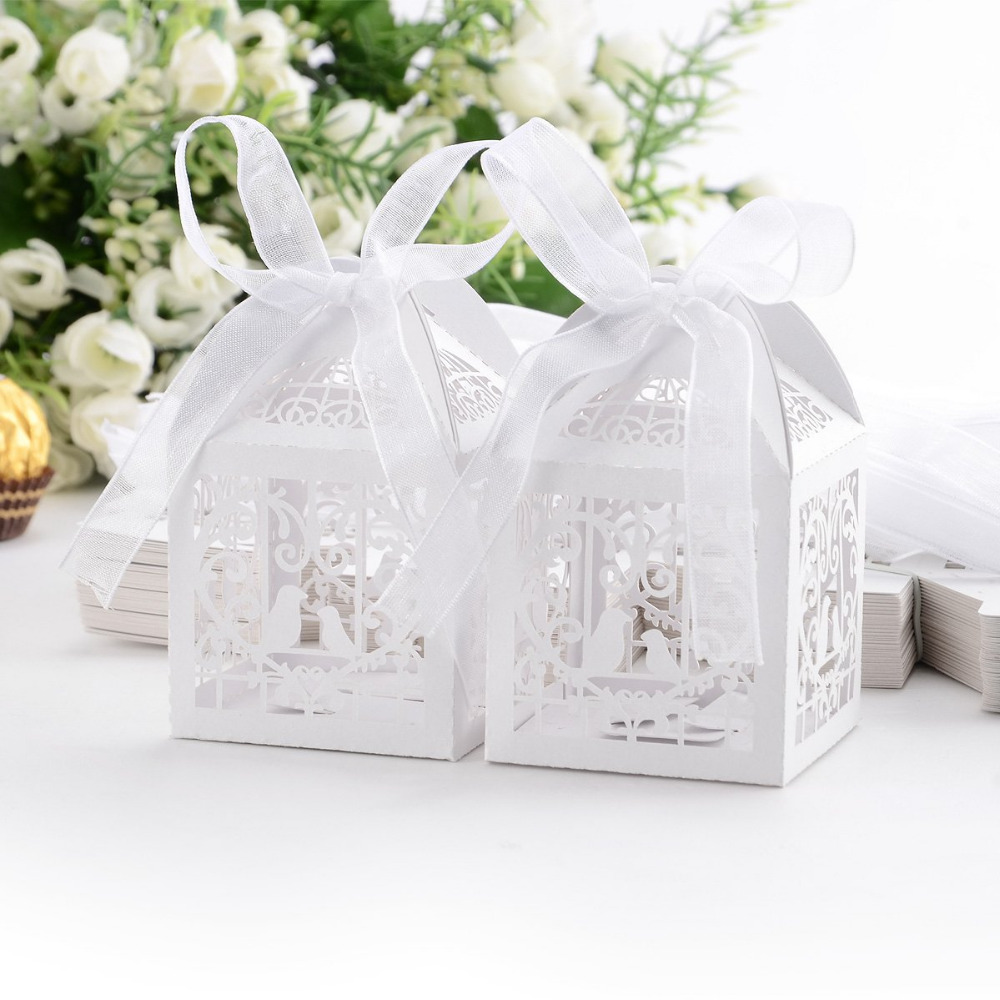 50Pcs Hollow Cut Mini Bird Cage DIY Candy Cookie Gift Boxes with White Ribbon Romantic Wedding Party Favor Decor