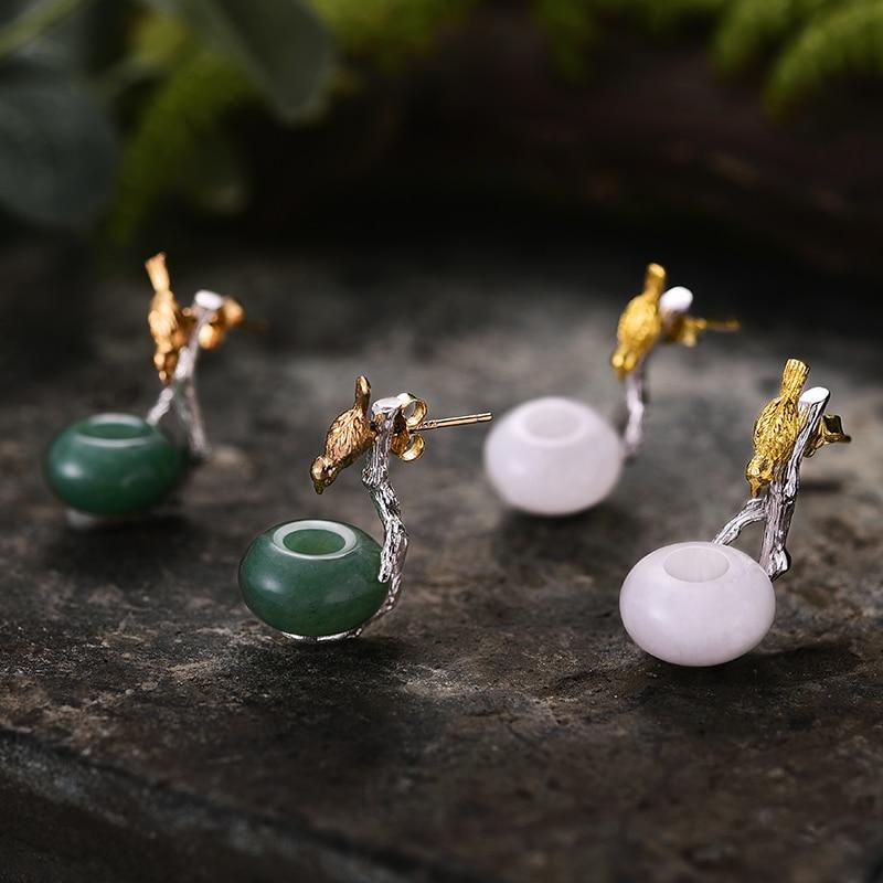 Lotus Fun 925 boucles d'oreilles en argent Sterling pour femmes pierre naturelle ronde verte Aventurine Animal oiseau fait main bijoux cadeaux - 4