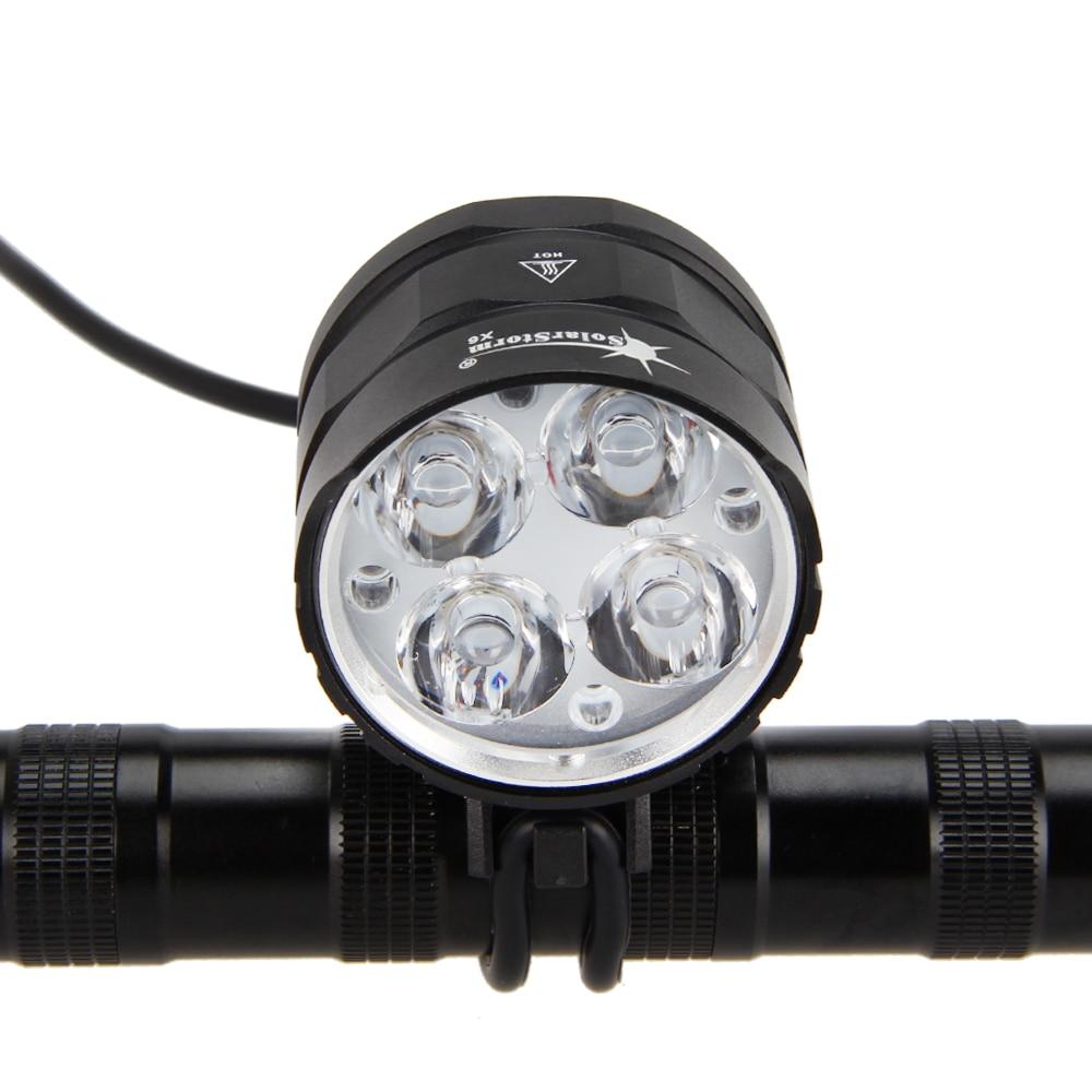 SolarStorm 2000LM 4x XML T6 LED Bicycle Light Cycling Led Bike Lights Lamp With 18650 Battery AC Charger Laser Rear Light xml t6 2000lm led тактический фонарик факел света с горы дистанционного переключателя