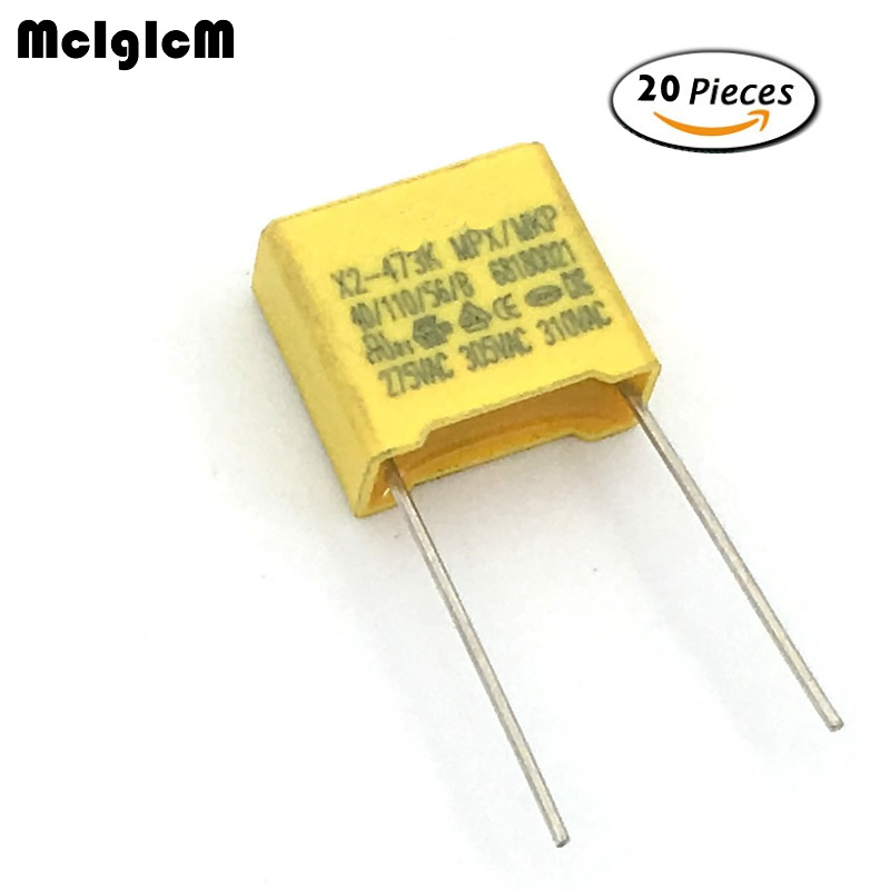 MCIGICM 20pcs Capacitor X2 Capacitor 275VAC X2 Polypropylene Film Capacitor 0.047uF 47nF Pitch 10mm