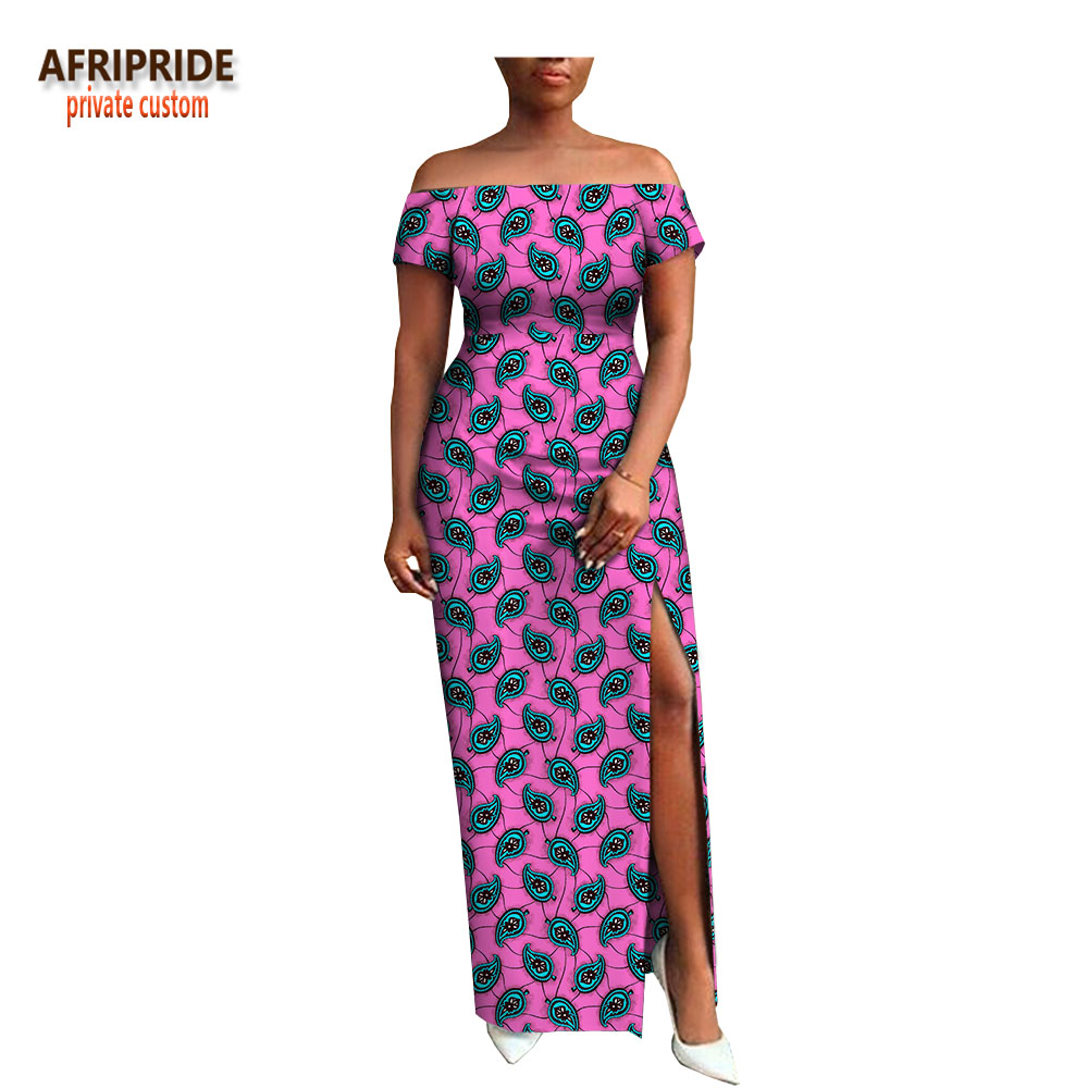 2018 AFRIPRIDE private custom african clothing autumn dress short sleeve maxi batik side opening party dress