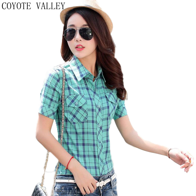 The New Summer Button 2018 High Quality Lady Blusas Plaid Shirt Female Fashion Crop Top Cotton Shirts With Short Sleeves Mujer