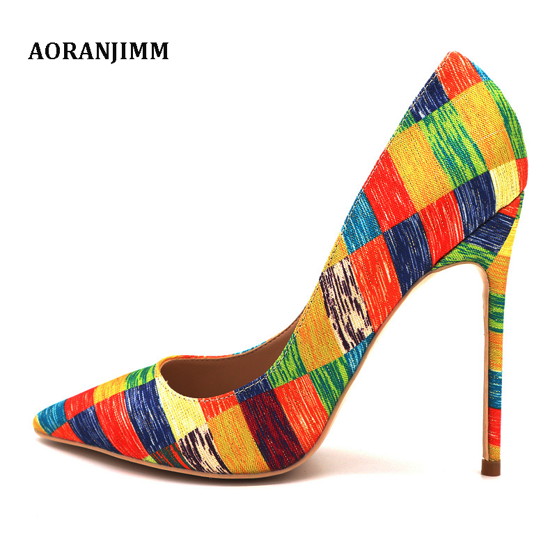 Free shipping real picture hot sale AORANJIMM colorful chequer pointed toe women lady 120mm high heel