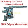 Para samsung galaxy note2 n7100 mainboard 16 gb versão oficial desbloqueado 100% original placa lógica motherboard com batatas fritas