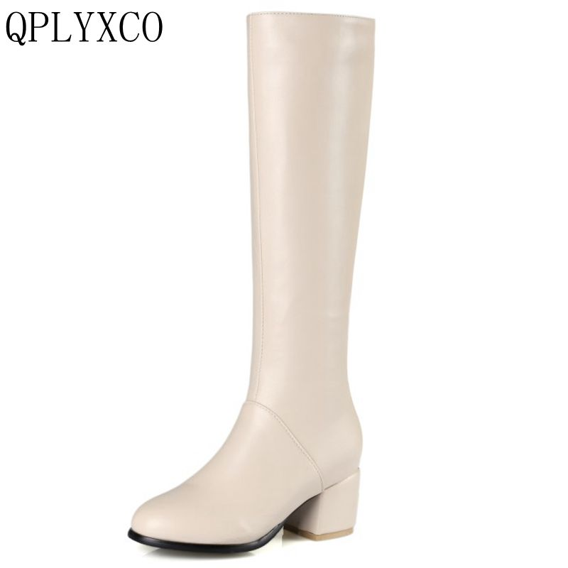 QPLYXCO 2017 New sale Big size 32-45 knee boots women fashion snow winter footwear high heel shoes warm Zipper long boot C9-28