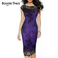 Bonnie Thea women Summer Lace slim sheath Chiffon Dress lady Sexy Office work Elegant pencil Dress Party long Dress
