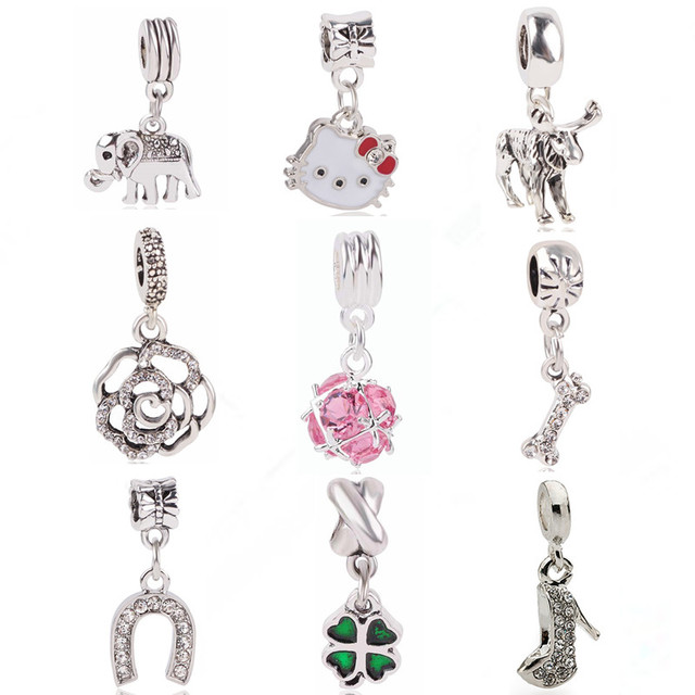 Dodocharms dijes originales de Color plateado KT tacones altos elefante Rosa CZ cuentas de cristal para pulseras de Pandora joyería colgante DIY
