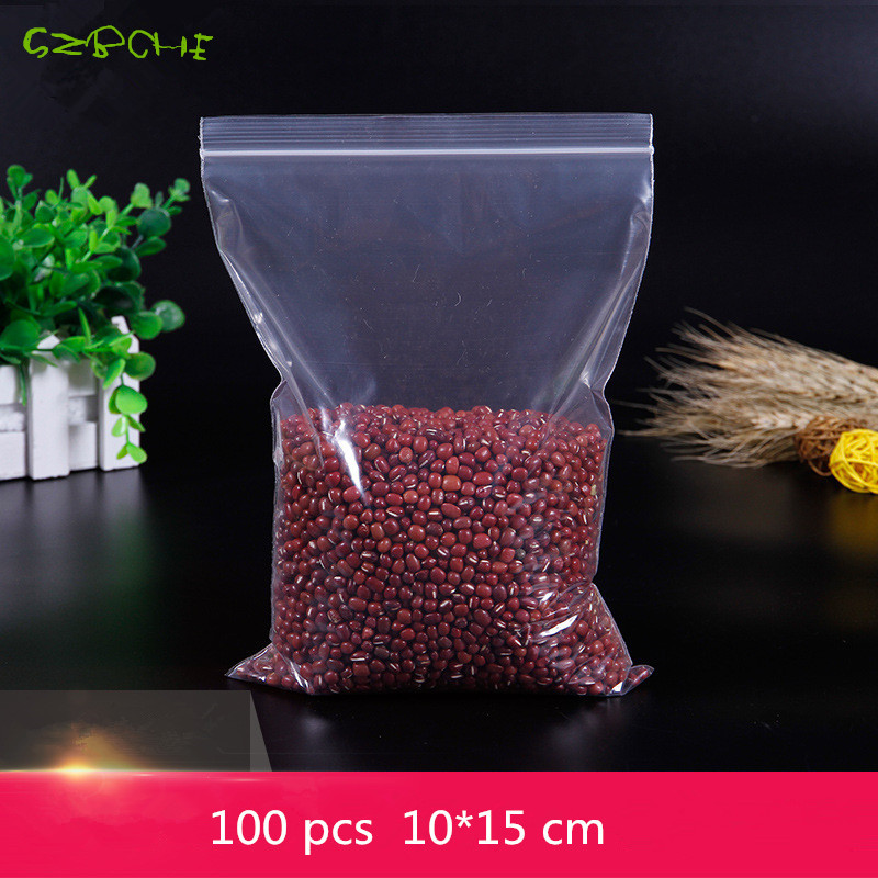 100Pcs 10X15CM Ziplock Lock zipped Poly Clear Bags Plastic Food storage bags Thick transparent package bags