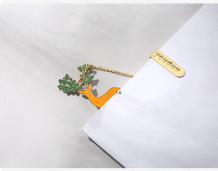 Image 2 - 30pcs/lot Kawaii Creative Fashion Metal Longhorn Deer Pendant Bookmark School Learning Office Supplies Children's Birthday Gift-in Bookmark from Office & School Supplies