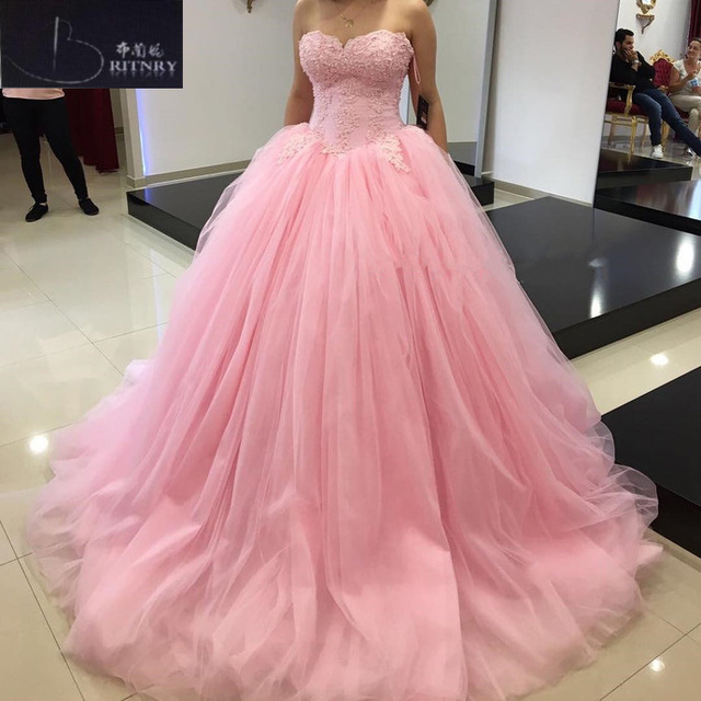 2018 Puffy Pink Wedding Dress Sweetheart Lace Beaded Tulle Ball Gown Plus Size Bridal