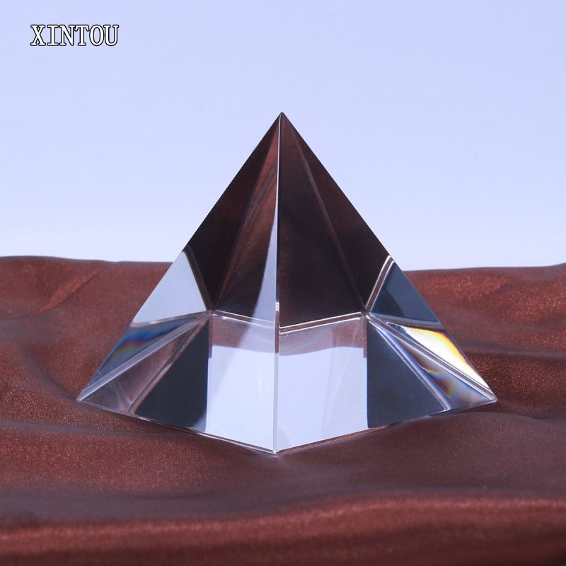 XINTOU 5 cm Crystal Glass Pyramid Prism Paperweight Energy Healing Egypt  Building Model Feng Shui Pyramids miniature Figurines