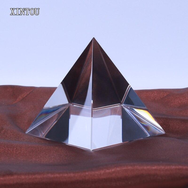 XINTOU 5 cm cristal verre pyramide prisme presse-papiers énergie guérison egypte bâtiment modèle Feng Shui pyramides Figurines miniatures