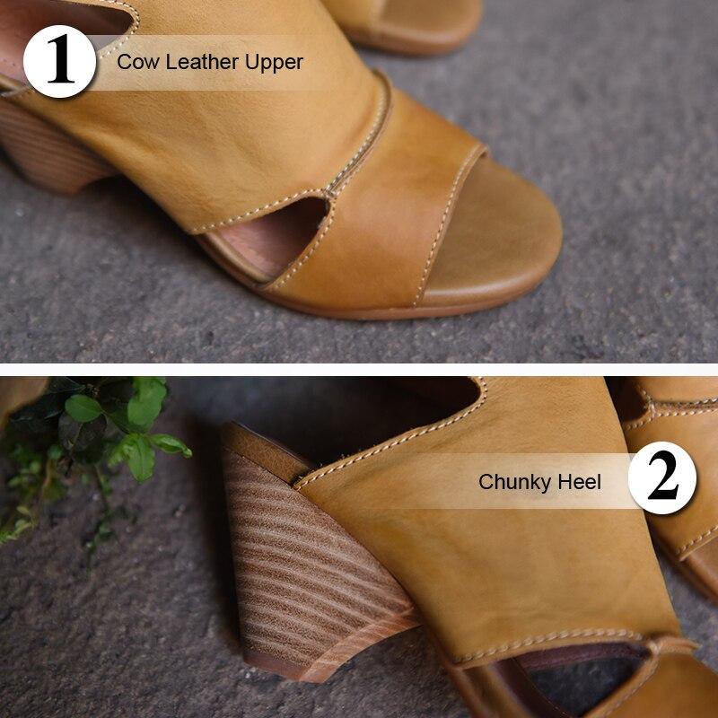 Artmu Original Summer New Retro Thick Heels Women Sandals Comfortable Cowhide High Heels Handmade Shoes 0021-4