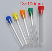 100pcs/lot 13*100mm High Transparency Plastic Test Tube, Hard Plastic Polystyrene Test Tube with Plug, Chemistry Laboratory Tool