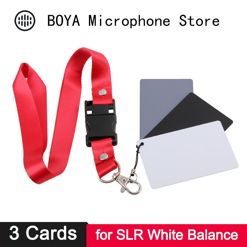 Digital Camera White Balance Card 18% Grey Black White 3 In 1 Pocket-Size Card Neck Strap Set Photo Studio Photography Reflector