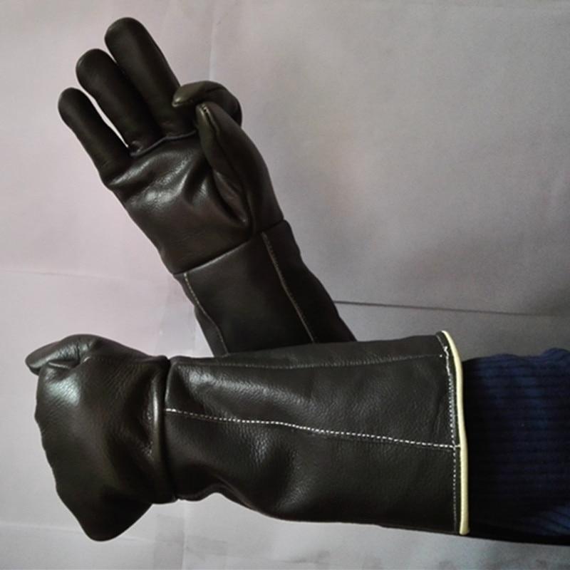 Doprava zdarma za horka prodlužovat prodlužovat 42cm pravé hovězí kožené rukavice bezpečnostní práce chránit otěruvzdorný pohon tepelně udržovat zimu