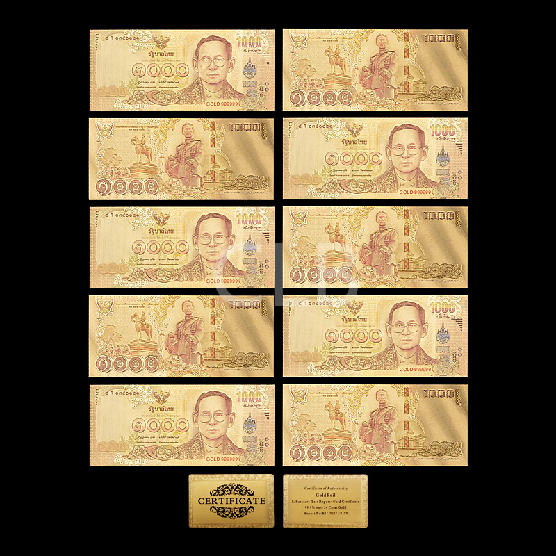 ขายส่งประเทศไทยที่มีสีสัน24พันทองธนบัตร1000บาทที่มีสีสันทองใบด้วยบัตรใบรับรองสำหรับของขวั...