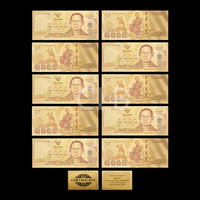 Wholesale Thailand Colorful 24K Gold Banknote 1000 Baht Colorful Gold Leaf with Certificate Card for  Business Gift 10pcs/lot