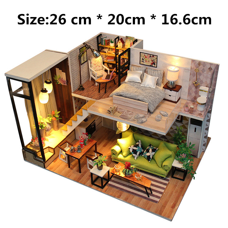 DIY Wooden Doll House Model Nordic Mini Creative Dollhouses For LOL Dolls Assembled Furniture Building Blocks