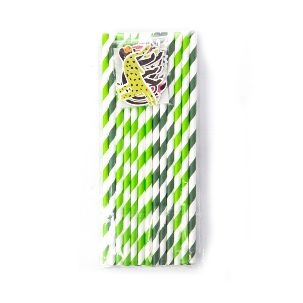 Image 4 - Pack of 24 Jungle Animal Party Paper Straws with Toucan Monkey Tropical Leaves Cutouts Tropical Birthday Party Shower Supplies-in Party DIY Decorations from Home & Garden