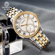 Cristal de Zafiro Relojes de señoras de La Manera Mujeres de la Marca de Lujo Mujeres Rhinestone Reloj de Cuarzo de Acero Inoxidable Reloj de pulsera Reloj Femenina