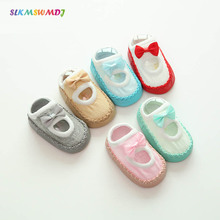 SLKMSWMDJ spring summer baby toddler socks children bow breathable mesh cute leather anti-skid floor 6 colors