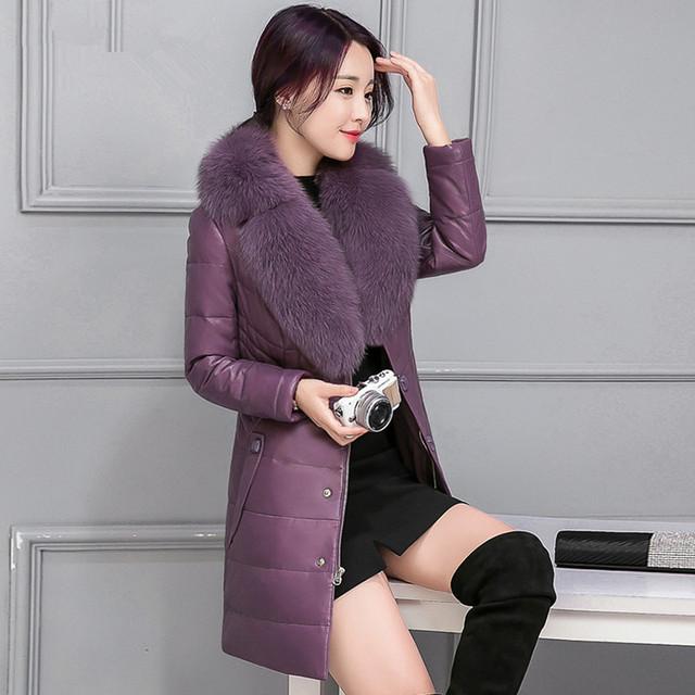 El otoño y el invierno ropa nueva más tamaño capa de la chaqueta de abrigo de piel grande Nagymaros cuello de piel larga de las mujeres de color sólido caliente parkas MZ1043
