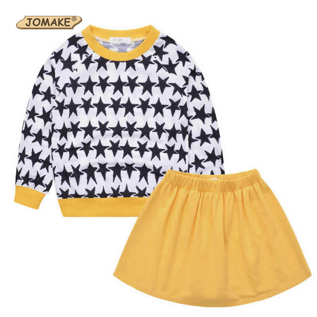 New Autumn Children Clothing Sets Start Pattern Pullover Sweater And Solid Skirt For Girls Casual Children Clothes Suits
