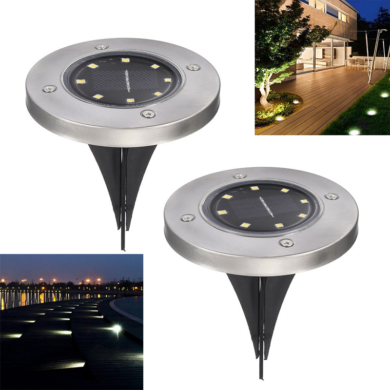 outdoor Waterproof disk Solar Ground Light Garden Path Deck floor path Lights stair step 8 LEDs lighting lawn underground Lamp Стол