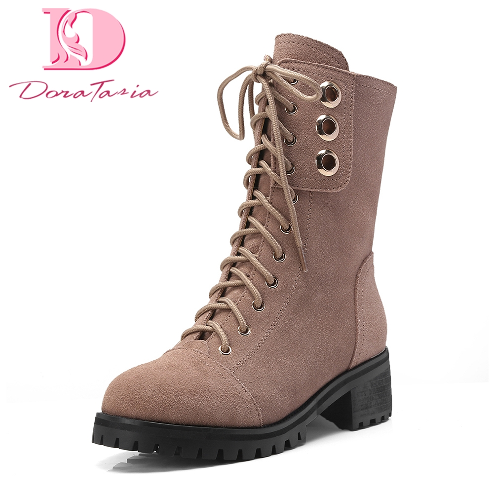 Doratasia 2018 martin boots Cow Suede leather 2018 Fashion Boot Shoes Woman Hot Sale Zip Up top quality Ankle Boots Woman Shoes стоимость
