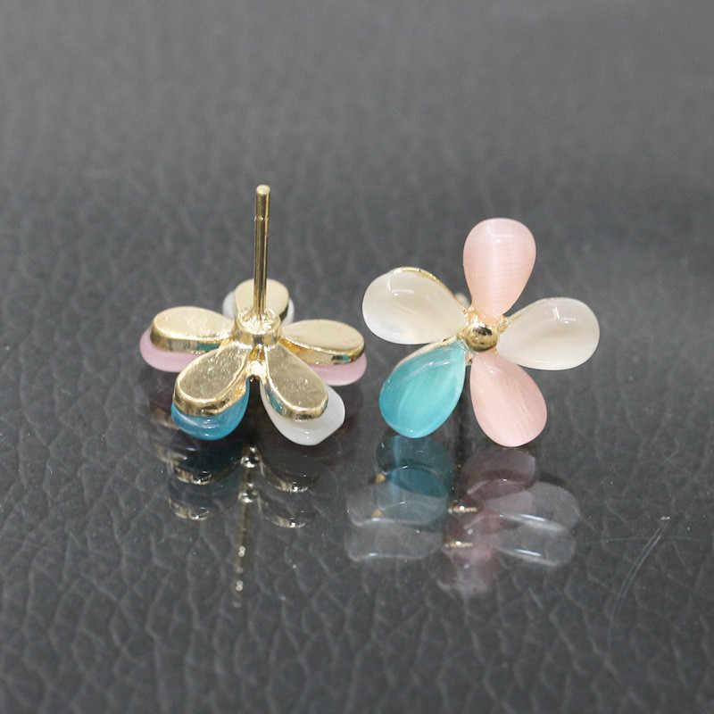 Kualitas Tinggi Fashion Imitasi Terang Opal Batu Potong Bunga Stud Anting-Anting untuk Wanita Wanita Cute Telinga Perhiasan Hadiah