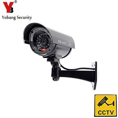 YobangSecurity Outdoor Indoor Fake Dummy Imitation CCTV Security Camera with Blinking Flashing Light Bullet Shape black bullet camera tube camera headset holder with varied size in diameter