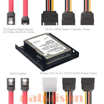 2X 2 5 Cal SSD do 3 5 Cal wewnętrzny dysk twardy zestaw montażowy wspornika (kable danych SATA i kable zasilające w zestawie) tanie i dobre opinie Eunaimee metal Stock