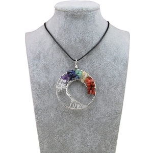 Fashion Women Rainbow 7 Chakra Tree Of Life Pendant Necklace Silver Crystal Natural Stone Necklace Women Christmas Gift