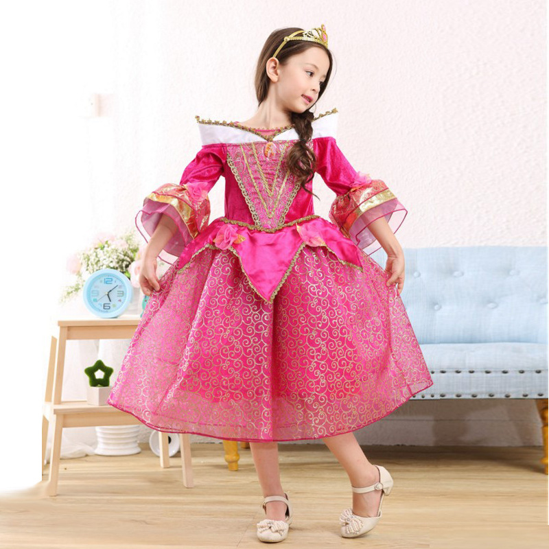 Sleeping Beauty Girl Dress Anna Elsa xmas Cosplay Costume for Party Festival Girls Princess Aurora Dresses Kids girls Clothes anna elsa cosplay wig ponytail for