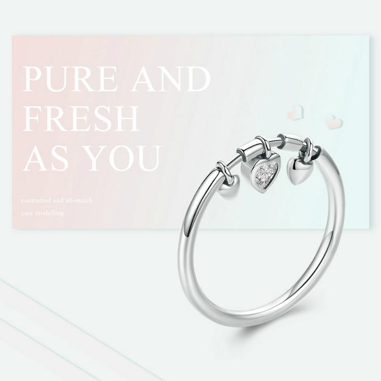 925 Sterling Silver Glittering Clear CZ Heart Dangle Ring